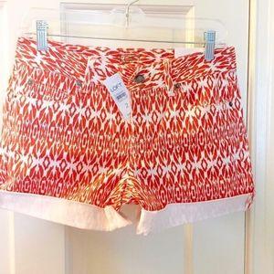 LOFT Tribal Ikat Cuffed Raw Hem Denim Shorts